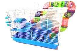 2-Floors Dwarf Hamster Small Animal Cage Habitat Rodent Gerb