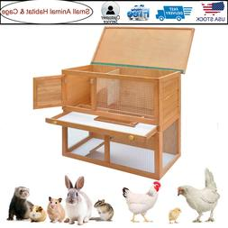 2 Layer Outdoor Rabbit Hutch Small Animal House Pet Cage wit