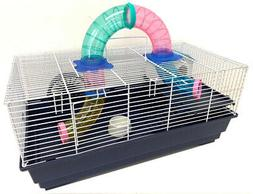 2-Level Habitat Hamster Rodent Gerbil Mouse Mice Cage W/Cros