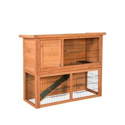 2 Tier Wooden Rabbit Hutch Bunny Guinea Pig Cage Pet House W