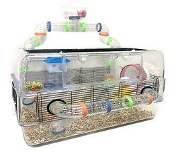 "28"" Deluxe Large 3-Floors Acrylic Hamster Mouse Palace Habit"
