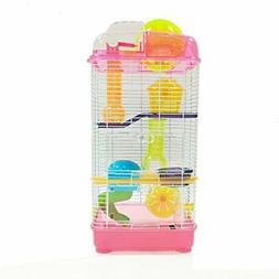 YML 3-Level Clear Plastic Dwarf Hamster Mice Cage with Ball
