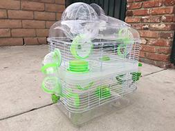 NEW 3 Level Sparkle Clear Transparent Syrian Hamster Mice Mo