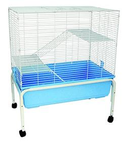 YML 3 Levels Indoor Animal Cage Cat Ferret with Stand, Blue