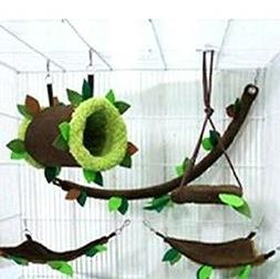 5 Pcs Sugar Glider Tunnel Cage Set Forest Pattern ,Hamster,