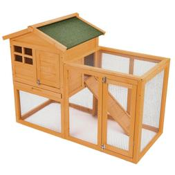 "56"" Wooden Rabbit Hutch Bunny House Small Animal Pet Cage w/"