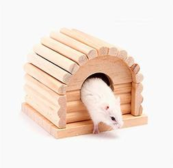 URToys Small Animal Mouse Natural Wood Hamster House Removab