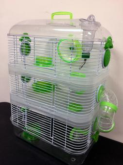 Clear Sparkle 3-Floor Dwarf Hamster Rodent Gerbil Mice Rat H