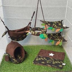 Cute 6 Pcs Sugar Glider Cage Set Military Pattern, Small Pet