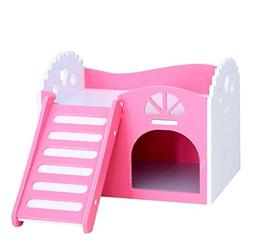 URTop Cute Pink Wooden Small Animal Pet Hamster House Cages