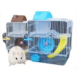 Double Layer Iron Wire Cage with Feeding Bowl  Toy for Pet H