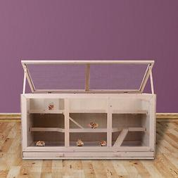 PawHut Fir Wood Cage Hamster House Rat Mice Small Animals Pl
