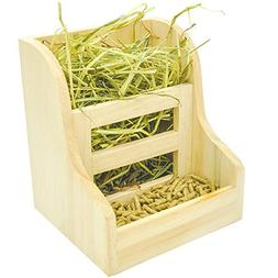 Niteangel Grass and Food Double Use Feeder, Wooden Hay Mange