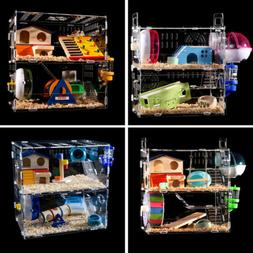 Hamster Acrylic Cage Transparent 2-3 Layer Mouse Gerbil Cast