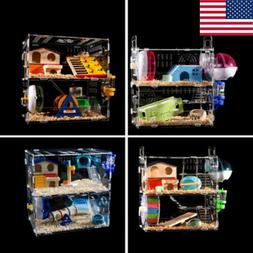 Hamster Acrylic Cage Clear 2-3 Layer Mouse Gerbil Castle Rat