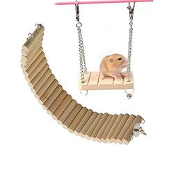 Hamster Bridge Hamsters Wood Swing Small Pet Ladder Stand Pl