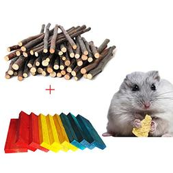 BWOGUE Hamster Chew Sticks,100G Natural Apple Branch & 24pcs