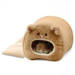 Hamster Winter Warm Cage Bear Shape Fleece House with Bed Ma