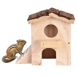 Awtang Hamster Natural Wooden House with Ladder Double-deck