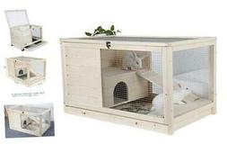 Indoor Rabbit Hutch & Hamster Cage with Hideout for Rest and