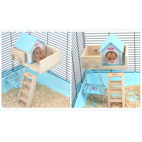 1×Hamster Swing Funny Hanging Wooden Cage Accessories