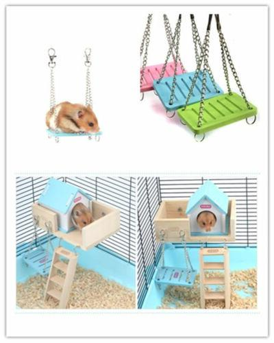 1hamster toys swing funny hanging gadget wooden