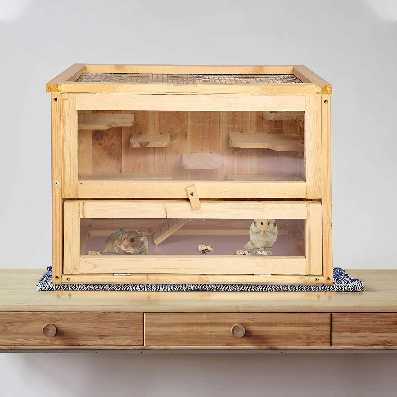 2 level wood hamster cage small animal