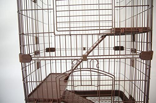 Homey Chinchilla Hamster Rat Cage with Pull Guard and Lockable Casters, Brown, x H38