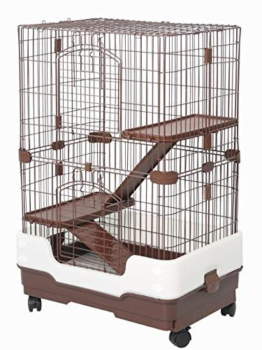 Homey Pet Tiers Chinchilla Rat Cage with Pull Urine Guard and Brown, x