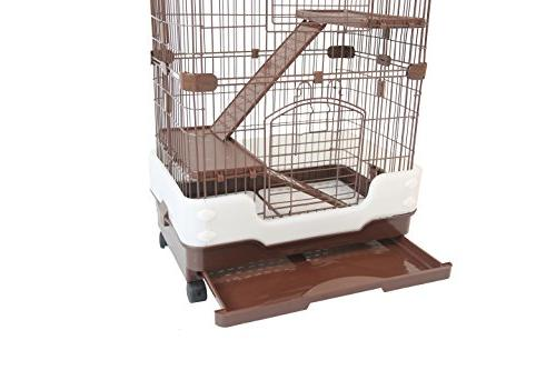Chinchilla Hamster Pull Out Guard Casters, Brown, x x H38