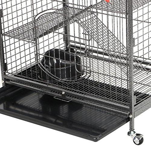 Yaheetech 37'' Metal Cage Animals Hutch 2 Front Doors and and Wheels