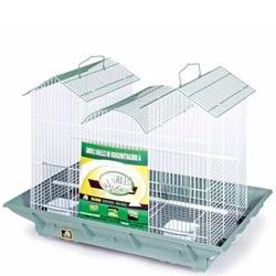 Clean Life Triple Roof Bird Cage - Green and White