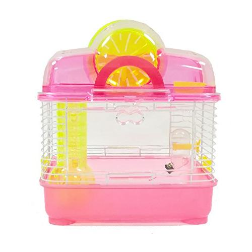 YML Clear Plastic Hamster Mice Cage with Ball Pink