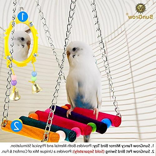 SunGrow Fancy Mirror with Strong, and Colorful, Attractive Easy to Install Pet from Sized Canaries Birds