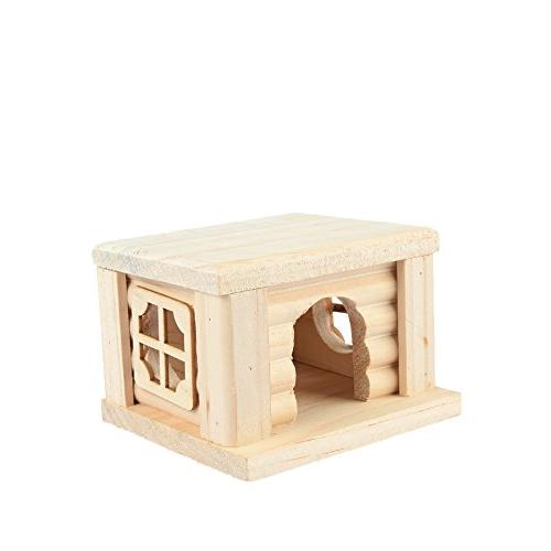 flat topped wooden house hamster