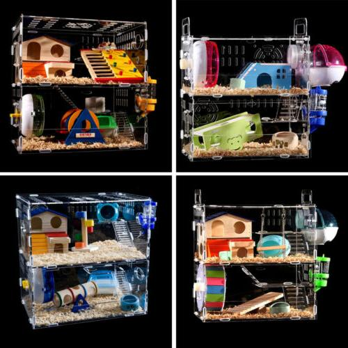 Hamster Acrylic Cage 2-3 Layer Mouse Castle Bed Large