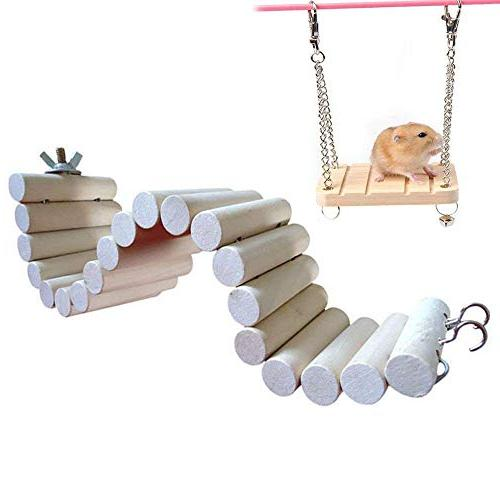 Hamster Hamsters Swing Pet Stand Hamster Accessories for Small Toys Wooden Swing Flexible