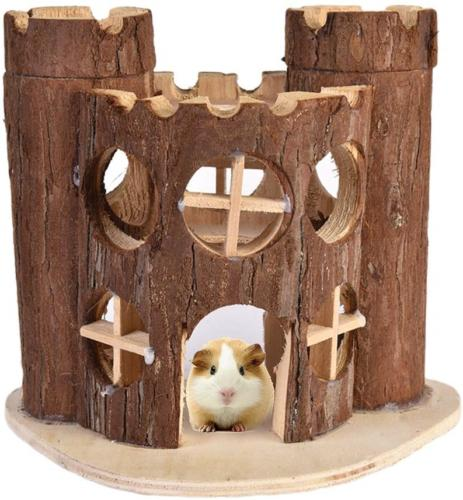 Awtang Hamster Castle Wooden House Little Pet Toy for Exerci