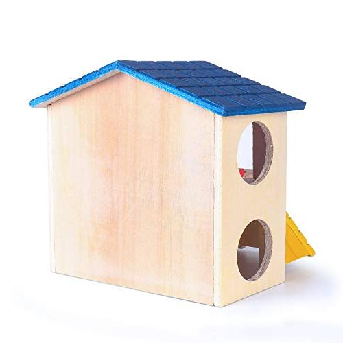 Hamster Wooden House with Habitat for Small Dwarf Gerbil, Gliders