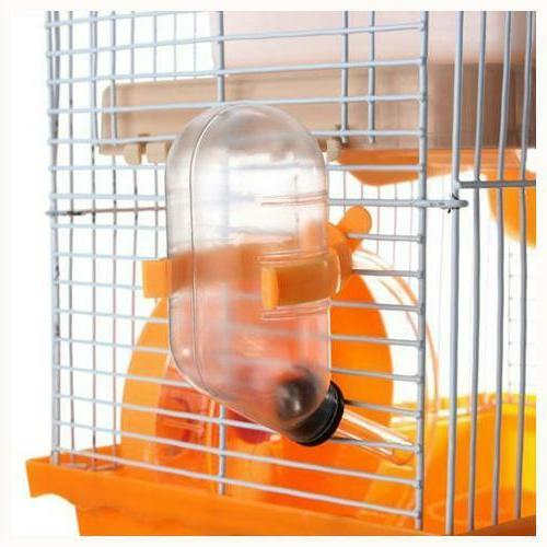 Hamster Small Pet Cage Gerbil 2 Levels Floor With Bottle New