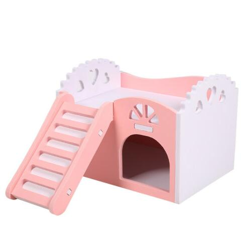House Bed Cage Small Pet Hamster Hedgehog Guinea Pig Castle W/Slide