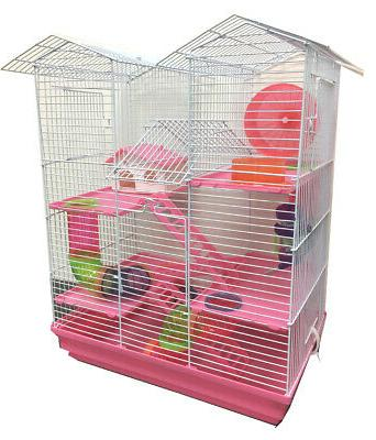 large pink twin tower hamster habitat rodent