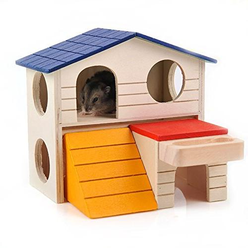 BWOGUE Pet Small Hideout Hamster House Two Play Chews