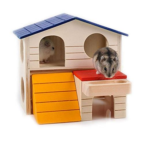BWOGUE Pet Hideout Hamster Two Wooden Play Chews