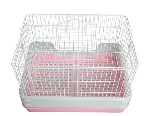Homey Pet Chinchilla Hamster Rat Ferret with tray, Urine and Casters, Pink, H21""