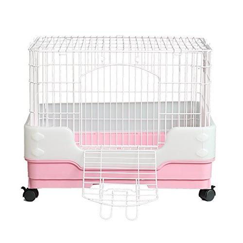 "Homey Hamster Rat with out tray, Urine Guard and Lockable Casters, Pink, W18""x H21"""