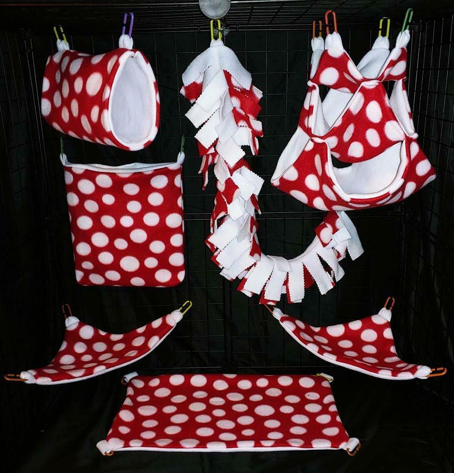 red and white polka safe cage set