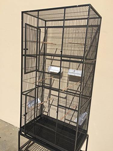 "New Large Wrought Ferret Bird Cage 18""Depth Removable Stand on Wheels *Black Vein*"