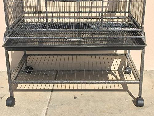 """New Extra Large Wrought Levels Ferret Chinchilla Glider Bird 18""""Depth With Removable Stand *Black"""