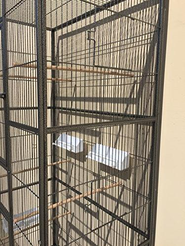 "New Extra Large Wrought 3 Ferret Chinchilla Bird Cage 18""Depth 72""Height Removable on Wheels *Black"